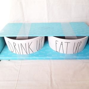 NWT Rae Dunn XL DRINK UP and EAT UP Dog Bowl Set